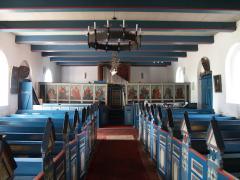 Ein Blick zur Orgelempore. Die Becker- Orgel wurde1959 eingebaut